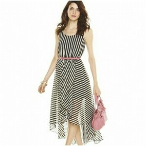 Elle Black and White Striped Hi Low Dress